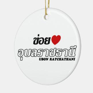 I Heart (Love) Ubon Ratchathani, Isan, Thailand Round Ceramic Decoration