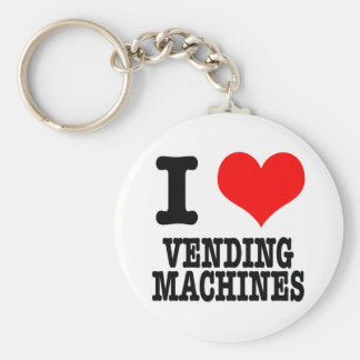 I HEART (LOVE) VENDING MACHINES BASIC ROUND BUTTON KEY RING