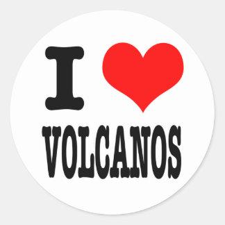 I HEART (LOVE) VOLCANOS ROUND STICKER