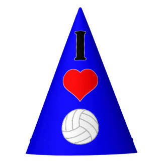 I Heart Love Volleyball Custom Color Party Hat
