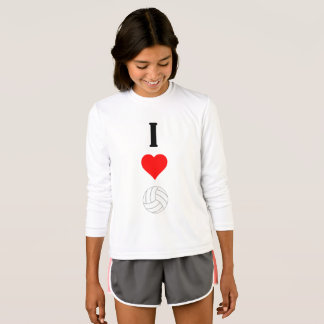 I Heart Love Volleyball Girls Long Sleeve Shirt