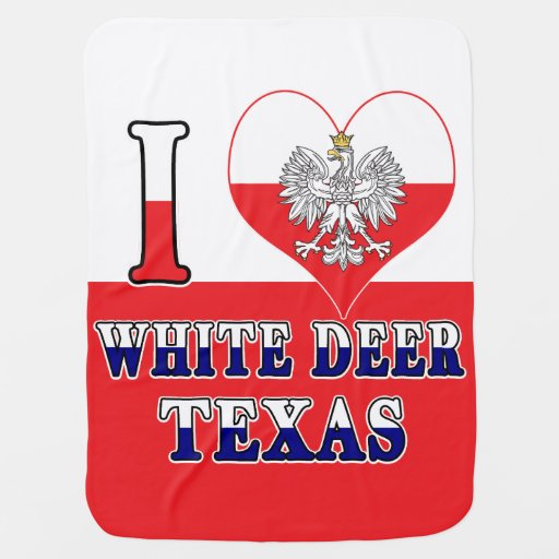I Heart Love White Deer Texas Baby Blanket