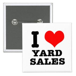 I HEART (LOVE) YARD SALES 15 CM SQUARE BADGE