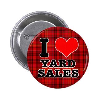 I HEART (LOVE) YARD SALES 6 CM ROUND BADGE