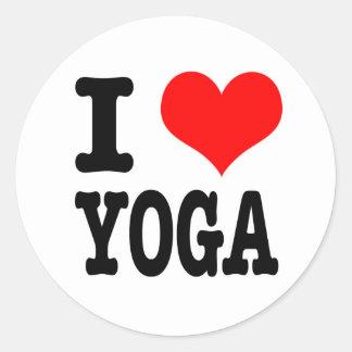 I HEART (LOVE) YOGA CLASSIC ROUND STICKER
