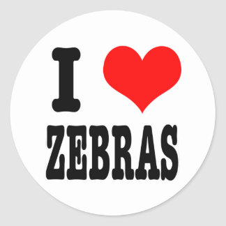 I HEART (LOVE) zebras Round Sticker