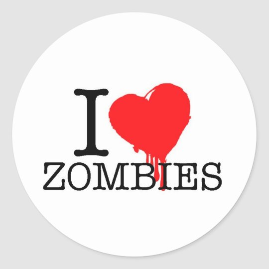 I HEART LOVE ZOMBIES CLASSIC ROUND STICKER