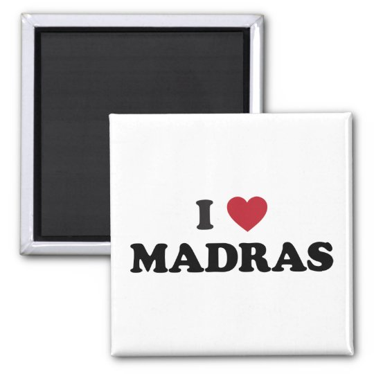 I Heart Madras India Square Magnet
