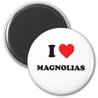I Heart Magnolias 6 Cm Round Magnet