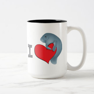 I heart manatees Two-Tone coffee mug