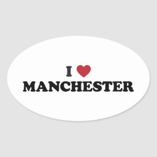 I Heart Manchester England Oval Sticker