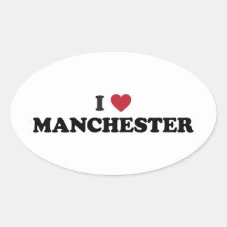 I Heart Manchester England Oval Sticker