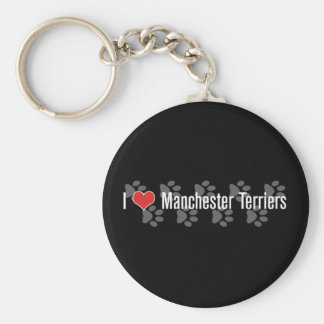 I (heart) Manchester Terriers Basic Round Button Key Ring