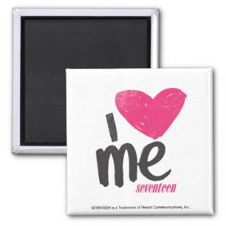 I Heart Me Magenta Square Magnet