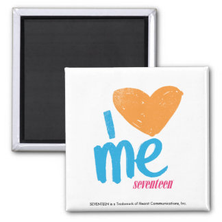 I Heart Me Orange/Aqua Square Magnet