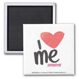 I Heart Me Pink Square Magnet