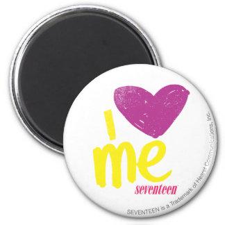 I heart Me Purple/Yellow 6 Cm Round Magnet