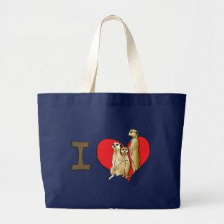 I heart meerkats large tote bag