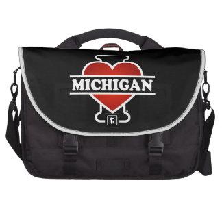 I Heart Michigan Laptop Messenger Bag