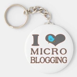 I Heart Micro Blogging Basic Round Button Key Ring