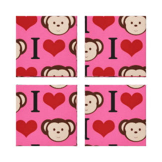 I Heart Monkey Pink I Love Monkeys Valentines Gallery Wrapped Canvas