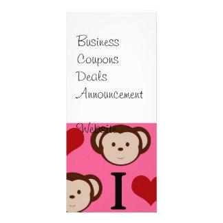 I Heart Monkey Pink I Love Monkeys Valentines Rack Card Template