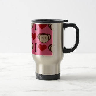 I Heart Monkey Pink I Love Monkeys Valentines Travel Mug