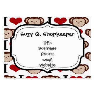 I Heart Monkeys I Love Monkey Valentines Gift Large Business Cards (Pack Of 100)