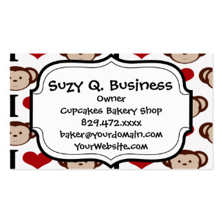 I Heart Monkeys I Love Monkey Valentines Gift Business Card Template