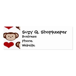 I Heart Monkeys I Love Monkey Valentines Gift Pack Of Skinny Business Cards