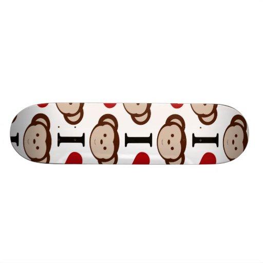 I Heart Monkeys I Love Monkey Valentines Gift Custom Skateboard