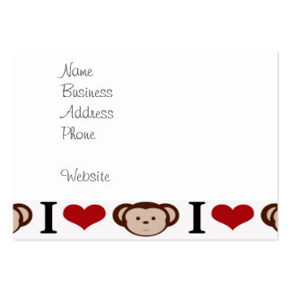 I Heart Monkeys I Love Monkey Valentines Gifts Large Business Cards (Pack Of 100)