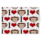 I heart monkeys on a white background. card