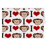 I heart monkeys on a white background. greeting card