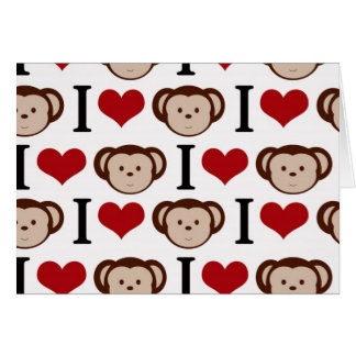 I heart monkeys on a white background. card
