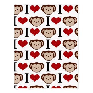 I heart monkeys on a white background. postcard