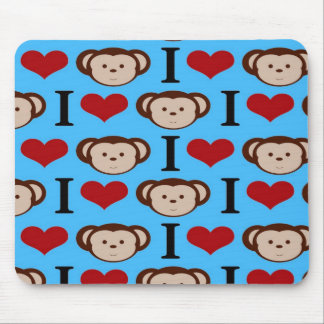 I Heart Monkeys Turquoise Teal Blue Valentines Mouse Pad