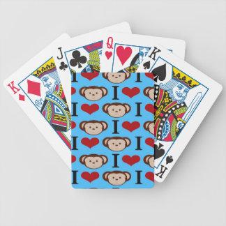 I Heart Monkeys Turquoise Teal Blue Valentines Poker Deck