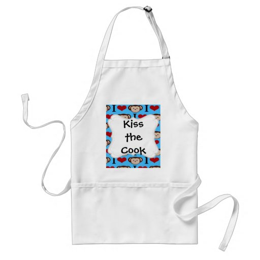 I Heart Monkeys Turquoise Teal Valentines Aprons