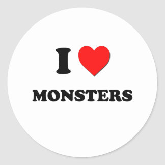 I Heart Monsters Classic Round Sticker