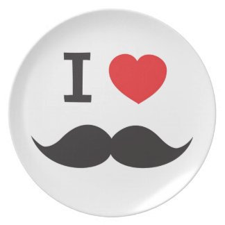 I Heart Moustache Plate