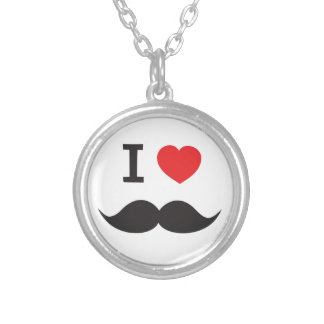I Heart Moustache Silver Plated Necklace