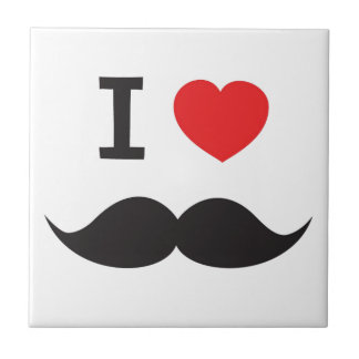 I Heart Moustache Tile