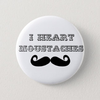 I Heart Moustaches 6 Cm Round Badge