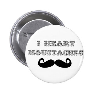 I Heart Moustaches Pinback Buttons