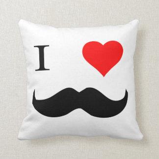 I Heart Moustaches Throw Pillow