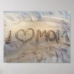 I Heart Mum, Love words on sunny sand beach Summer Poster