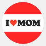 I Heart Mum Round Stickers