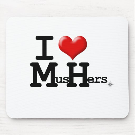 I Heart Mushers Mouse Mat