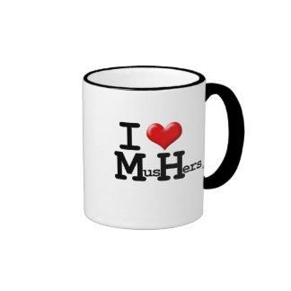 I Heart Mushers Ringer Mug